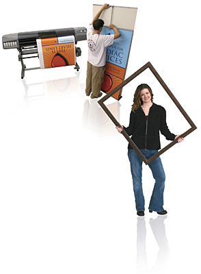 Man with Digital Printer and Woman with Picture Frame